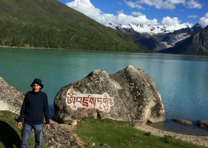A Mani boulder in Tibet